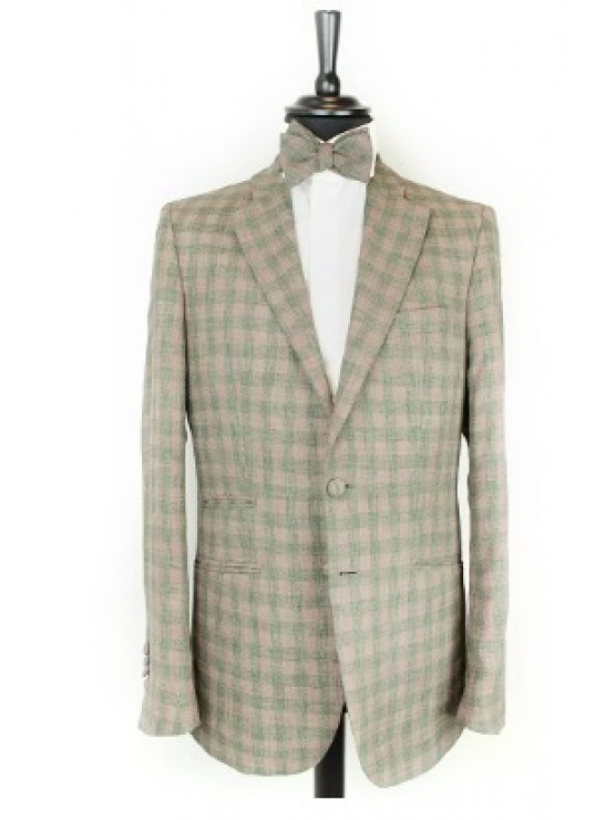 Green-purple checked jacket