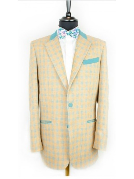 Orange checked jacket with green decoration