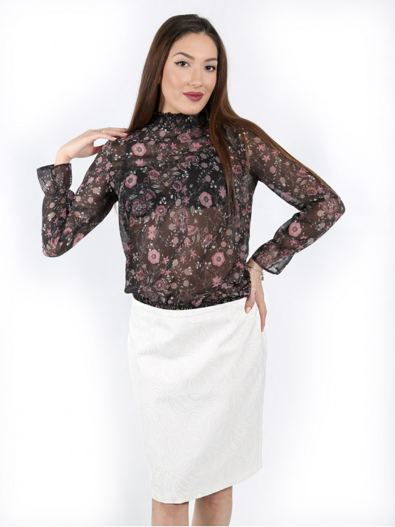 Women's long sleeve blouse with smock elastic neckline in black with pink flower print