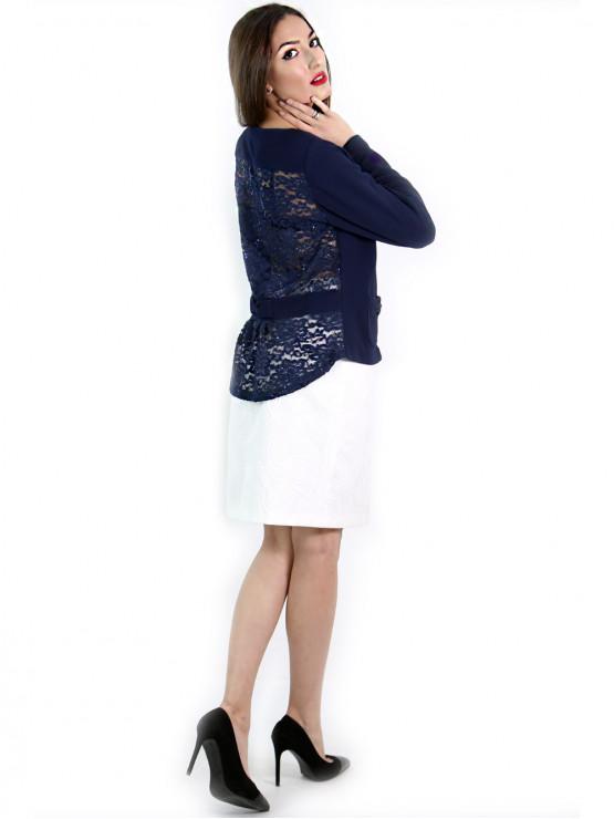 Blue jacket fancy back lace
