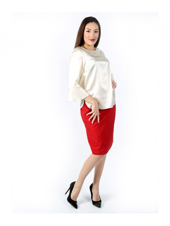 Women's formal 7/8 sleeve blouse with side slits
