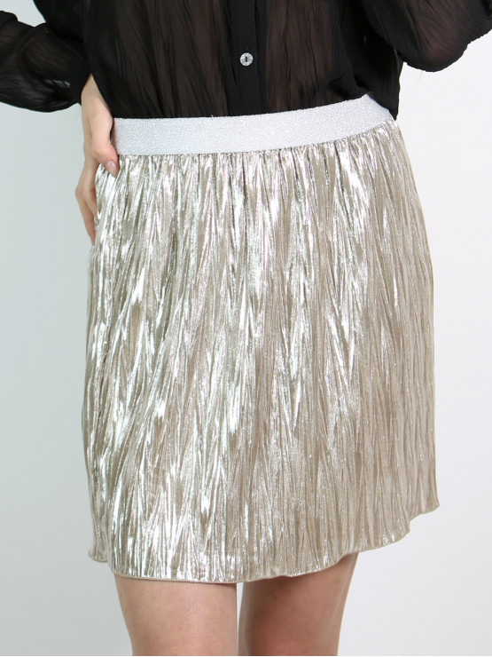 Short skirt from fancy pleated shiny fabric - color champagne