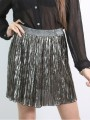 Short skirt from fancy pleated shiny fabric - color titan