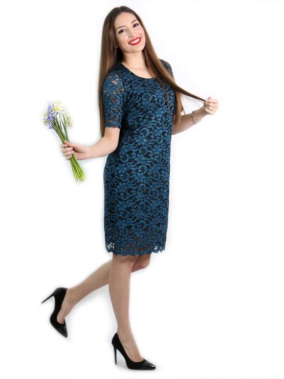 Festliches Kleid in Blau und Schwarz